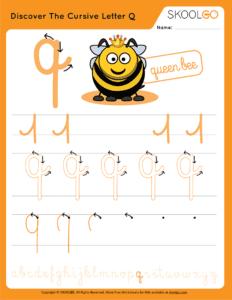 Discover The Cursive Letter Q - Free Worksheet for Kids