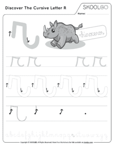 Discover The Cursive Letter R - Free Black and White Worksheet for Kids