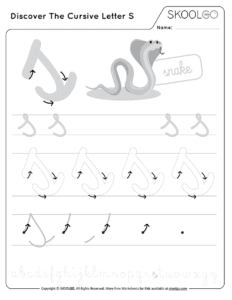 Discover The Cursive Letter S - Free Black and White Worksheet for Kids