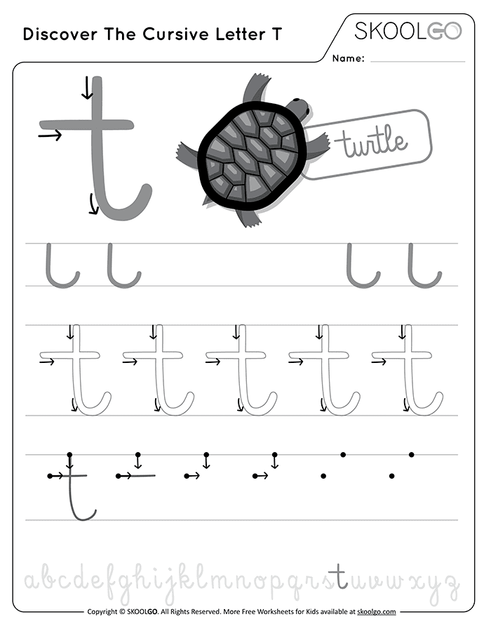 Discover The Cursive Letter T - Free Black and White Worksheet for Kids