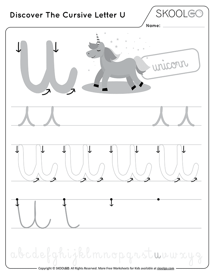 Discover The Cursive Letter U - Free Black and White Worksheet for Kids