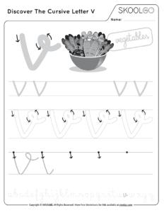 Discover The Cursive Letter V - Free Black and White Worksheet for Kids