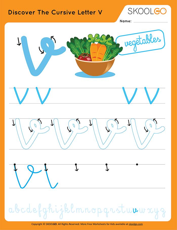 Discover The Cursive Letter V - Free Worksheet for Kids