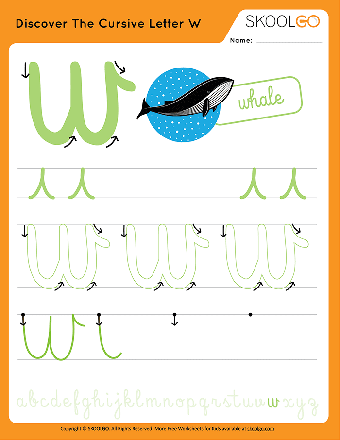 Discover The Cursive Letter W - Free Worksheet for Kids