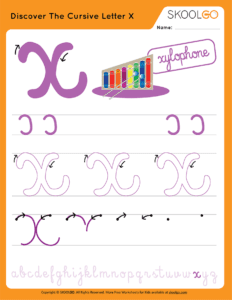 Discover The Cursive Letter X - Free Worksheet for Kids