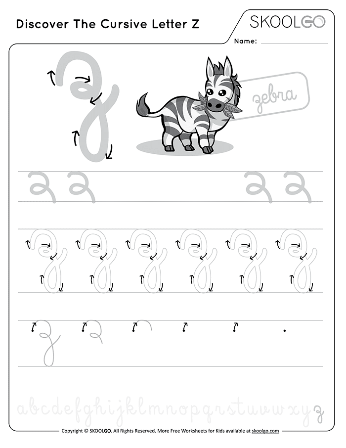 Discover The Cursive Letter Z - Free Black and White Worksheet for Kids