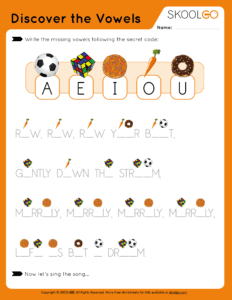 Discover The Vowels - Free Worksheet for Kids