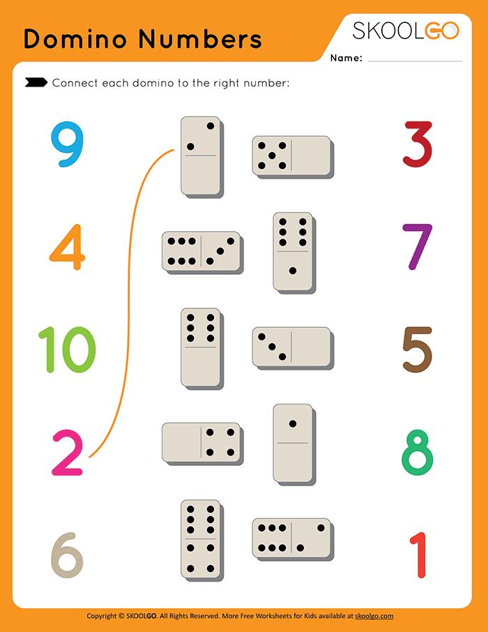 Domino Numbers - Free Worksheet for Kids