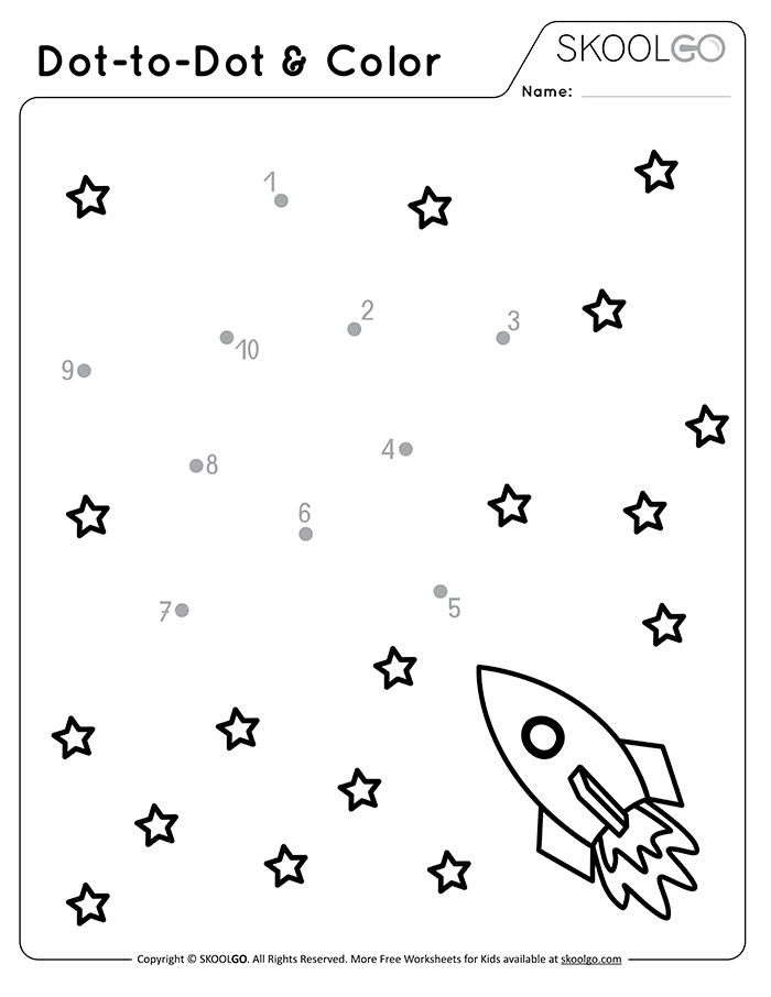Dot-To-Dot and Color - Free Black and White Worksheet for Kids