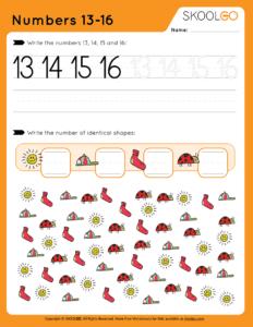 Numbers 13-16 - Free Worksheet for Kids