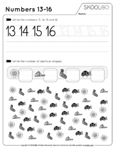 Numbers 13-16 - Free Black and White Worksheet for Kids