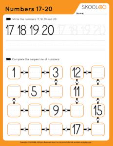 Numbers 17-20 - Free Worksheet for Kids