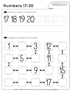 Numbers 17-20 - Free Black and White Worksheet for Kids