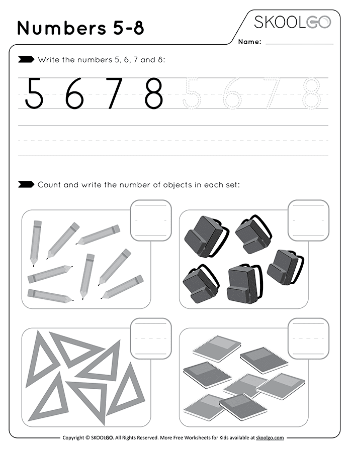 Numbers 5-8 - Free Black and White Worksheet for Kids
