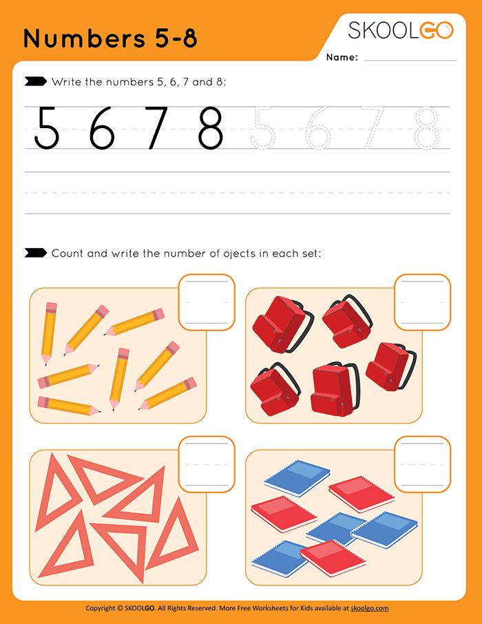 Numbers 5-8 - Free Worksheet for Kids