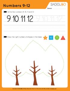 Numbers 9-12 - Free Worksheet for Kids