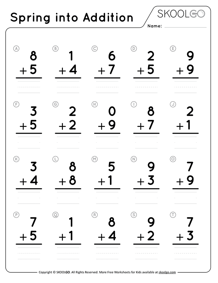 Spring Into Addition - Free Black and White Worksheet for Kids