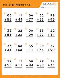 Two-Digit Addition 2 - Free Worksheet for Kids