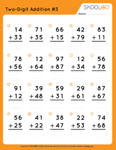 Two-Digit Addition 3 - Free Worksheet for Kids