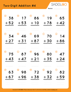 Two-Digit Addition 4 - Free Worksheet for Kids