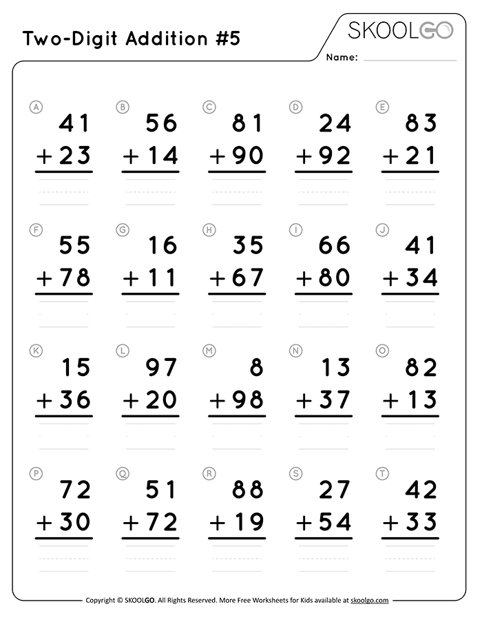 Two-Digit Addition 5 - Free Black and White Worksheet for Kids