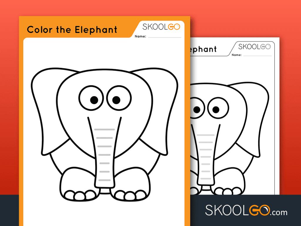 Free Worksheet for Kids - Color The Elephant - SKOOLGO