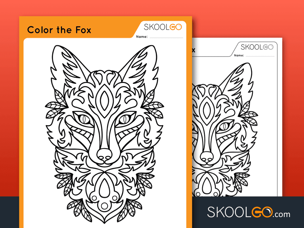 Free Worksheet for Kids - Color The Fox - SKOOLGO