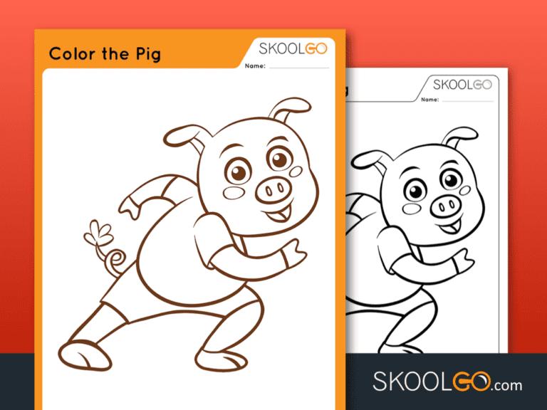 Free Worksheet for Kids - Color The Pig - SKOOLGO
