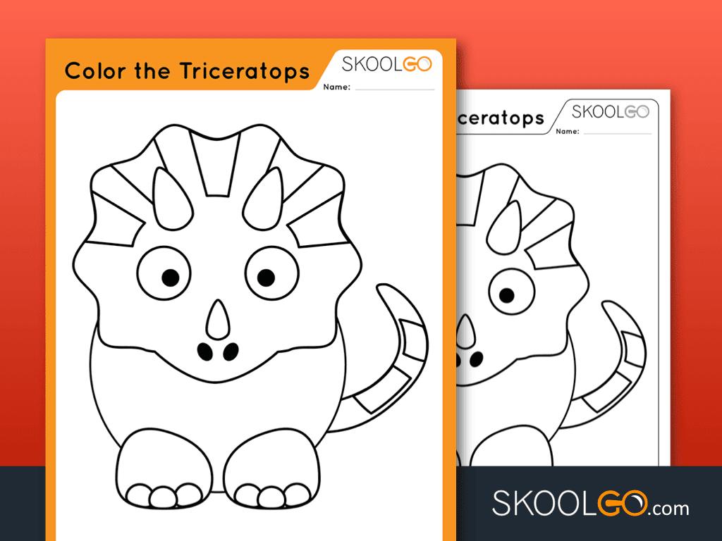 Free Worksheet for Kids - Color The Triceratops - SKOOLGO
