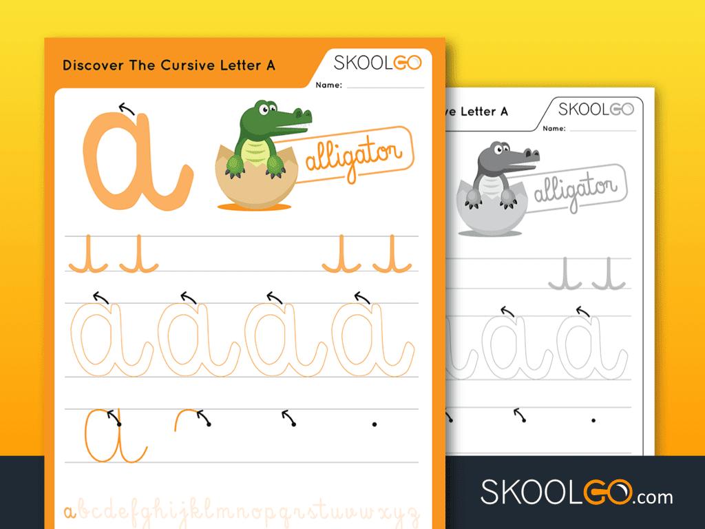 Free Worksheet for Kids - Discover The Cursive Letter A - SKOOLGO