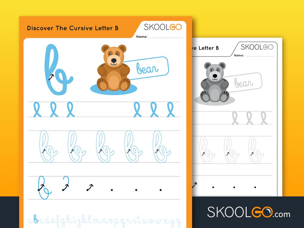 Free Worksheet for Kids - Discover The Cursive Letter B - SKOOLGO