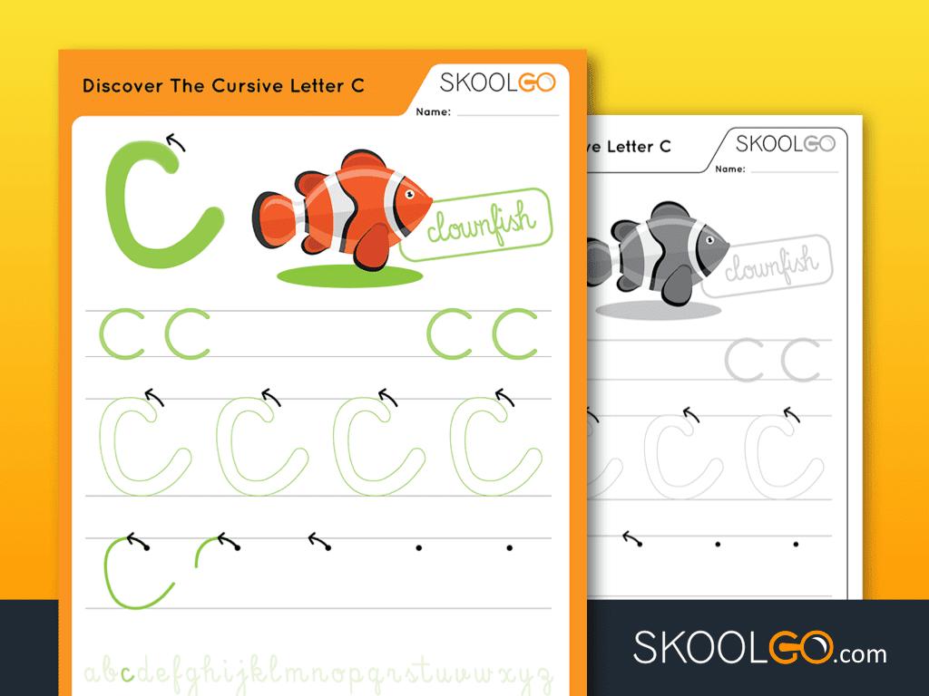 Free Worksheet for Kids - Discover The Cursive Letter C - SKOOLGO