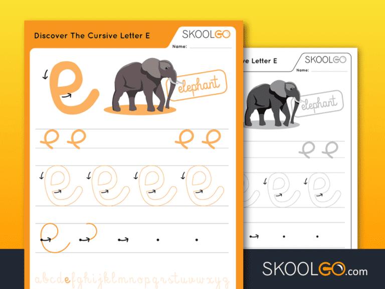 Free Worksheet for Kids - Discover The Cursive Letter E - SKOOLGO