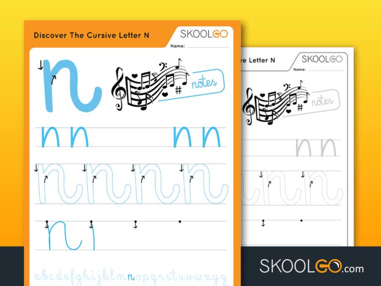 Free Worksheet for Kids - Discover The Cursive Letter N - SKOOLGO