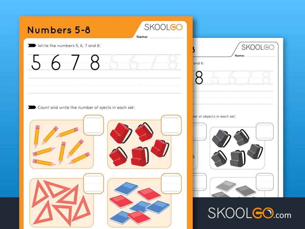 Free Worksheet for Kids - Numbers 5-8 - SKOOLGO