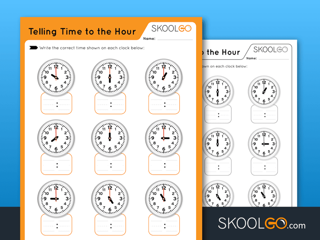 Free Worksheet for Kids - Telling Time to The Hour - SKOOLGO