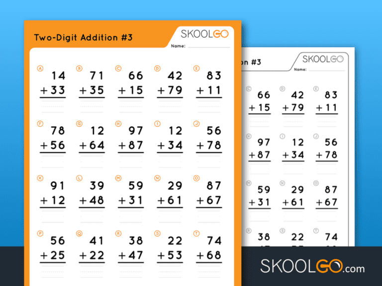 Free Worksheet for Kids - Two Digit Addition 3 - SKOOLGO