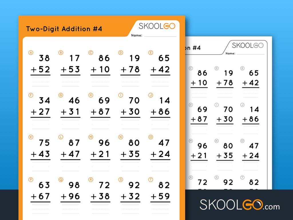 Free Worksheet for Kids - Two Digit Addition 4 - SKOOLGO