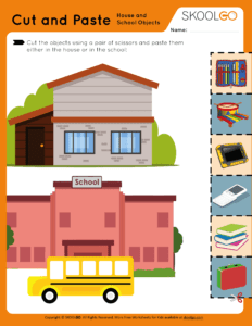 Cut and Paste House and School Objects - Free Worksheet for Kids