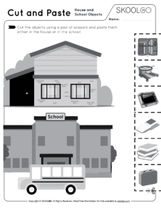 Cut and Paste House and School Objects - Free Black and White Worksheet for Kids