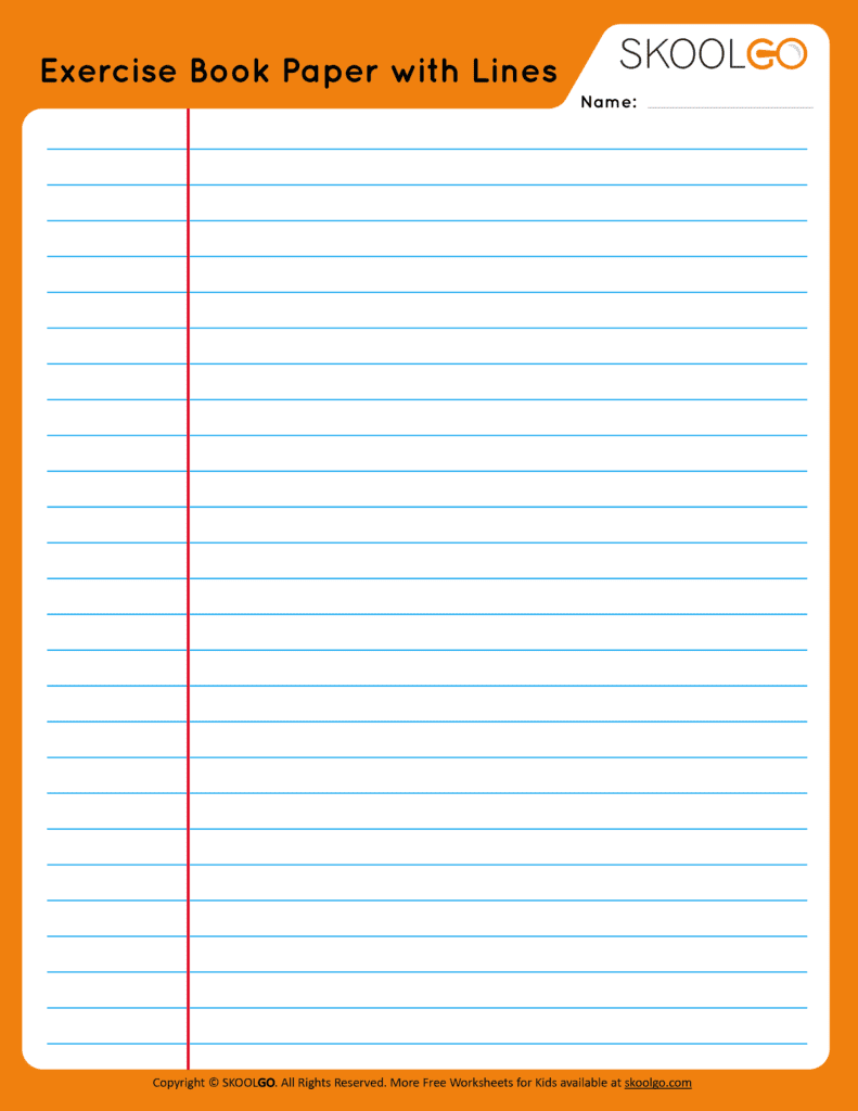 Exercise Book Paper with Lines - Free Worksheet for Kids