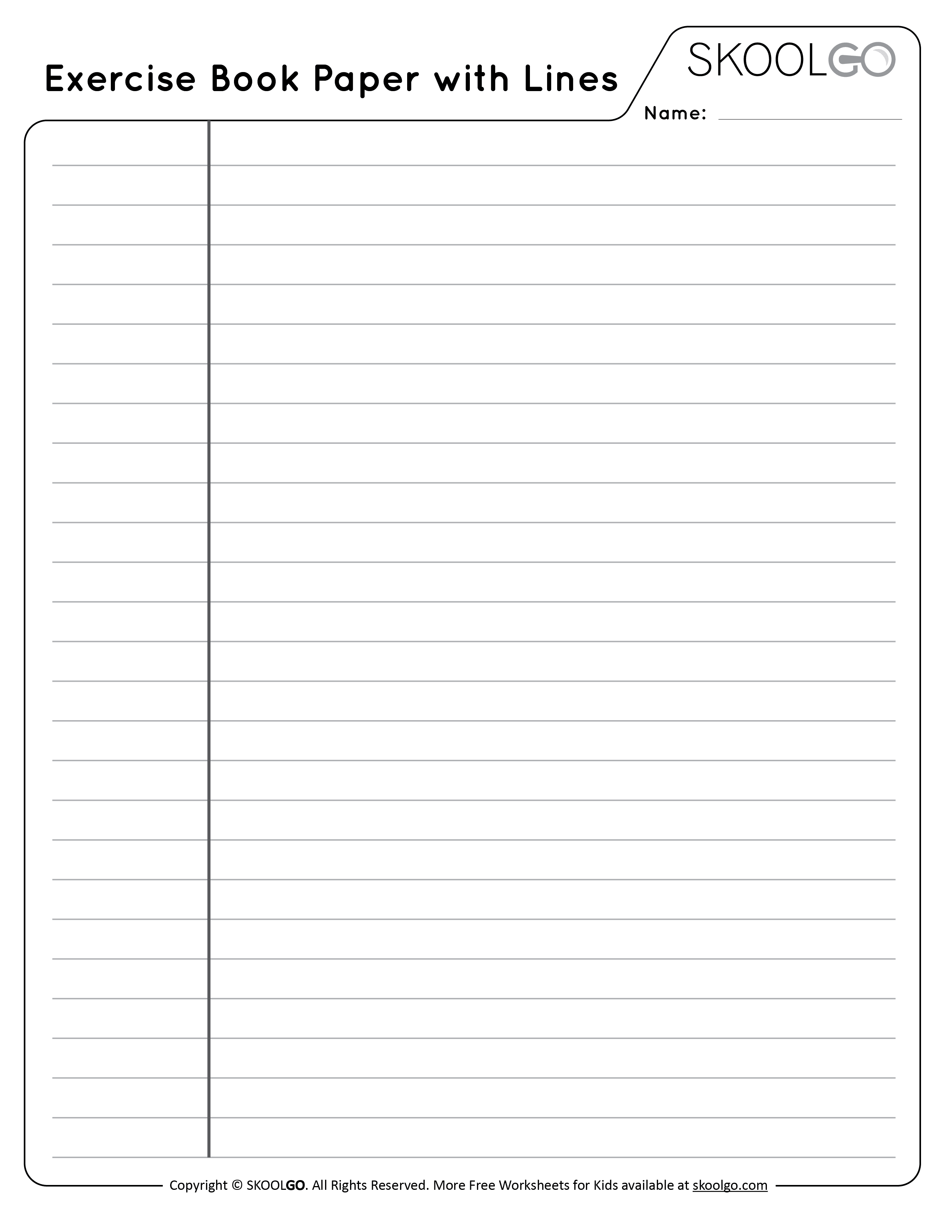 Exercise Book Paper with Lines - Free Black and White Worksheet for Kids