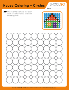 House Coloring Circles - Free Worksheet for Kids