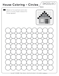 House Coloring Circles - Free Black and White Worksheet for Kids