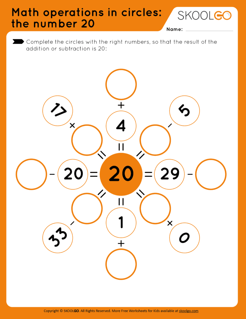 Math Operations in Circle - the Number 20 - Free Worksheet for Kids