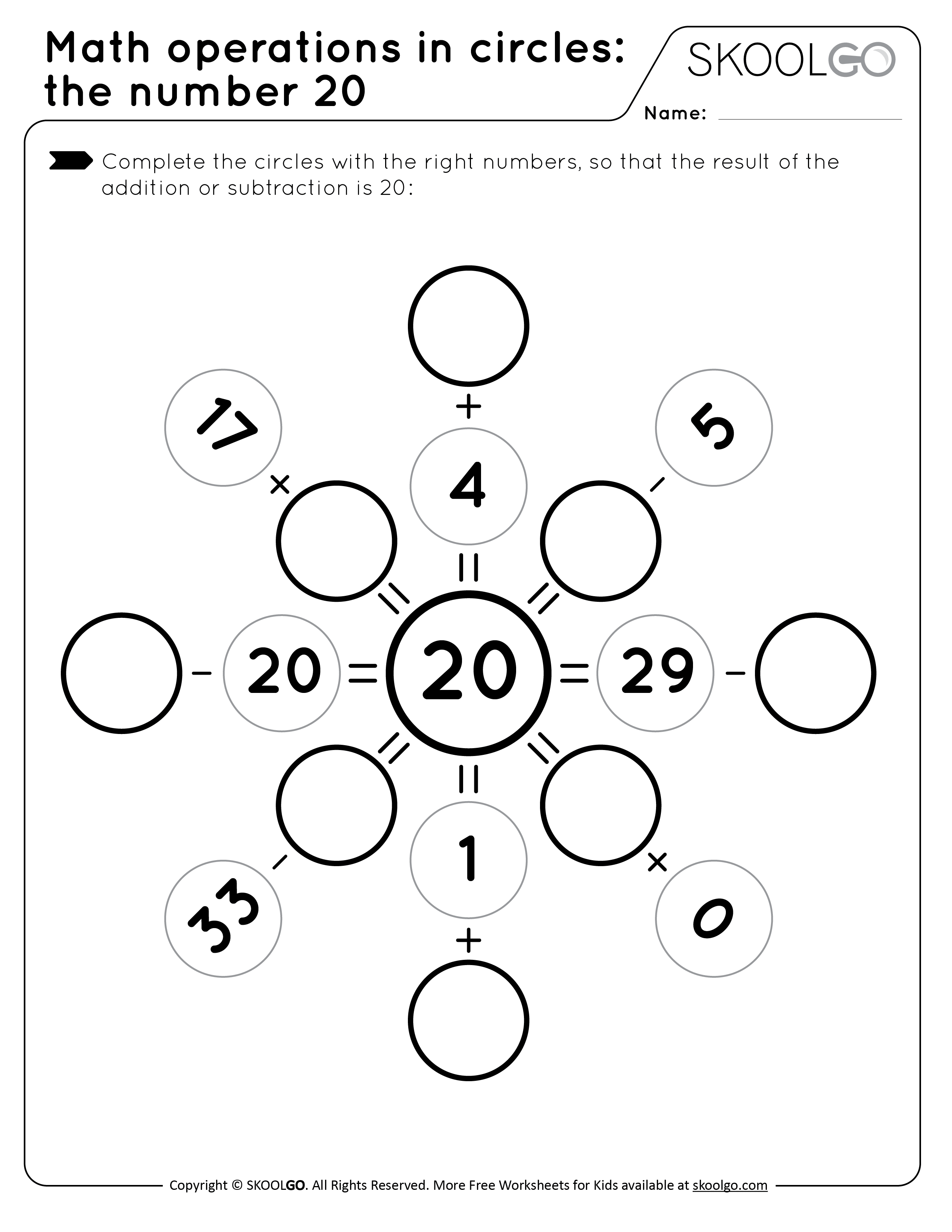 Math Operations in Circle - the Number 20 - Free Black and White Worksheet for Kids