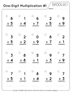 One-Digit Multiplication 1 - Free Black and White Worksheet for Kids