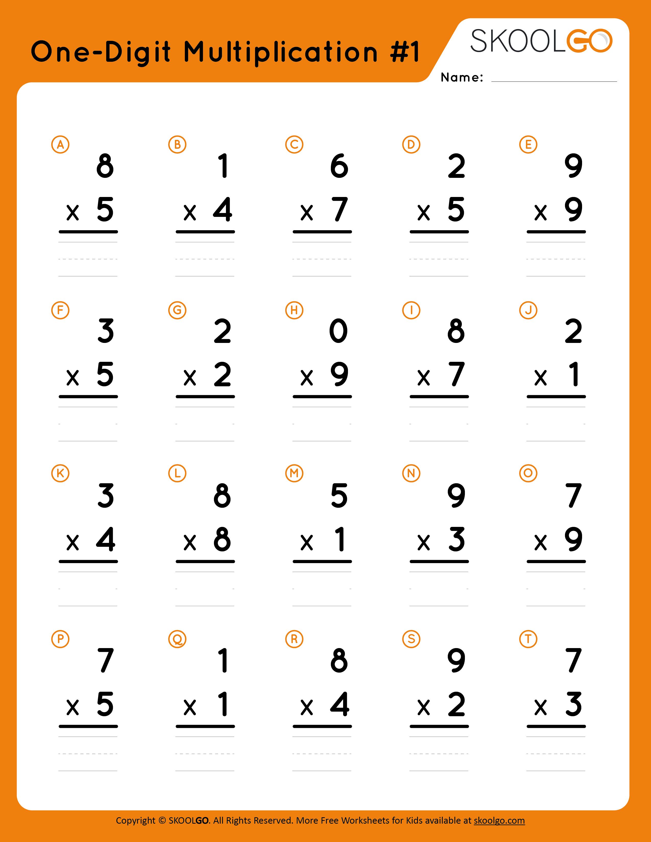 One-Digit Multiplication 1 - Free Worksheet for Kids