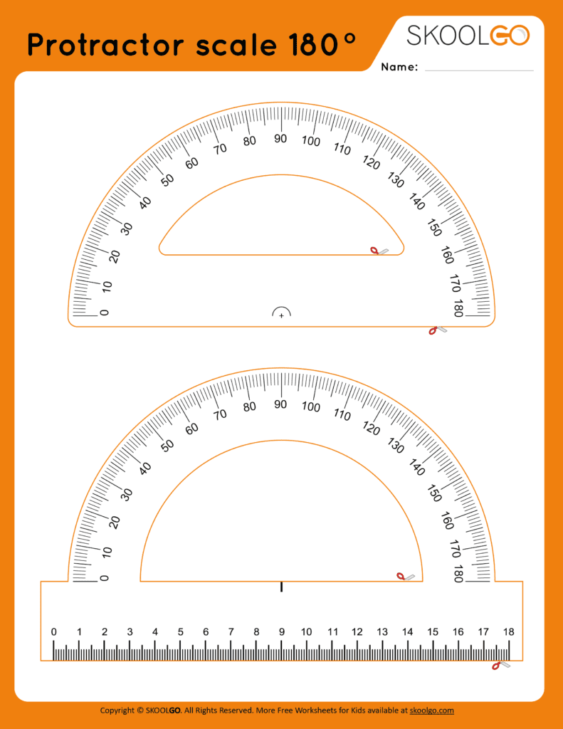 Protractor Scale 180 - Free Worksheet for Kids