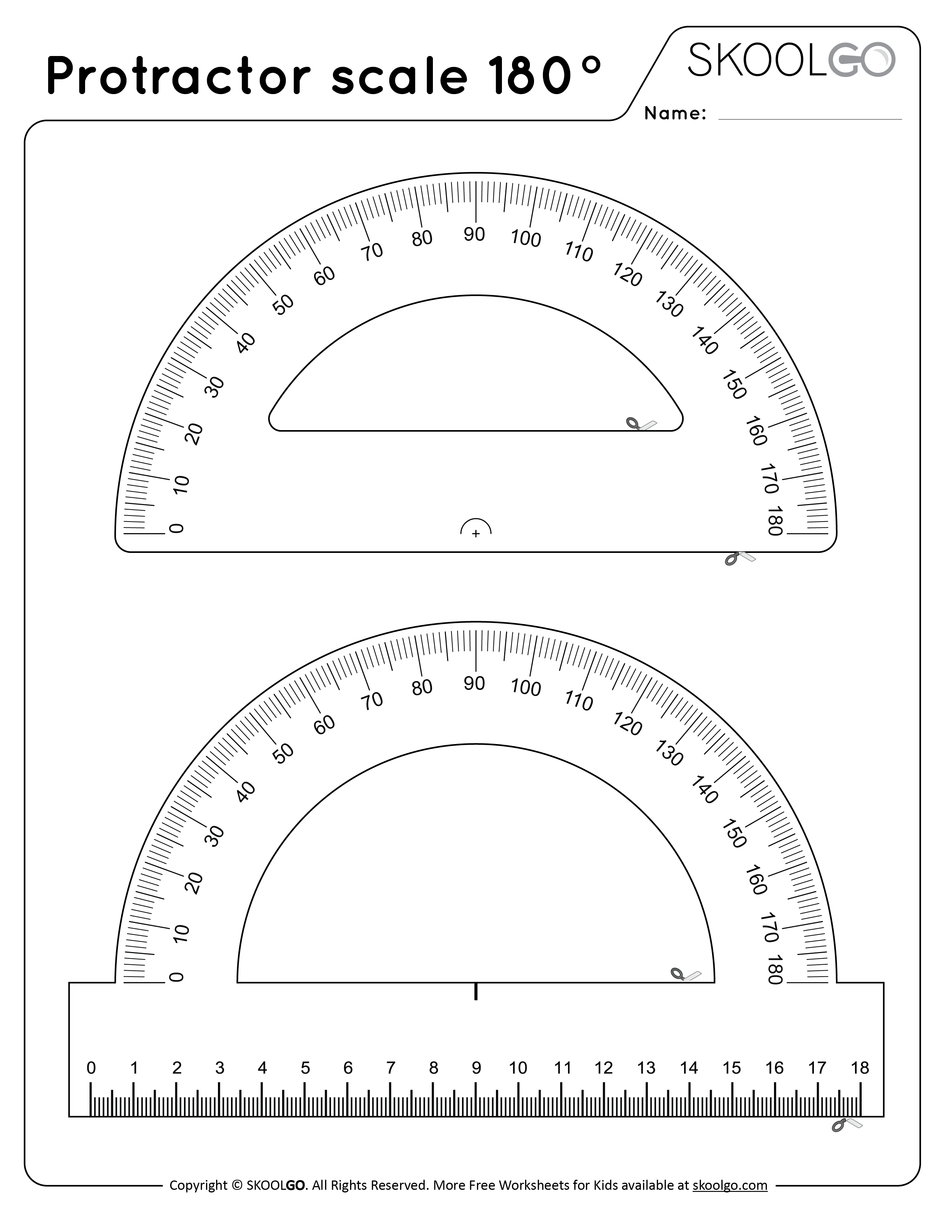 Protractor Scale 180 - Free Black and White Worksheet for Kids